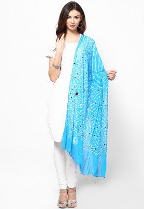Bandhini Cotton Dupatta in Light Blue
