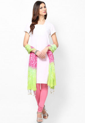 Bandhini Cotton Dupatta in Light Green and Pink