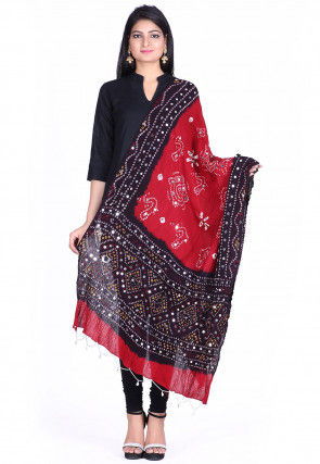 Bandhini Cotton Dupatta in Red and Brown