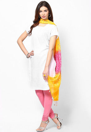Bandhini Cotton Dupatta in Yellow and Pink