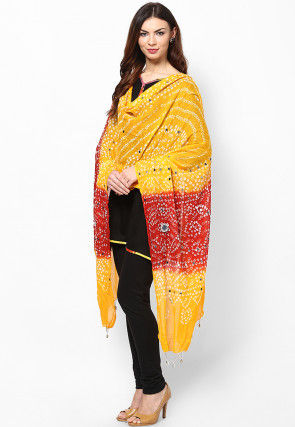 Bandhini Cotton Dupatta in Yellow and Red