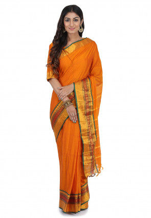 Bangalore Silk Saree in Dark Mustard