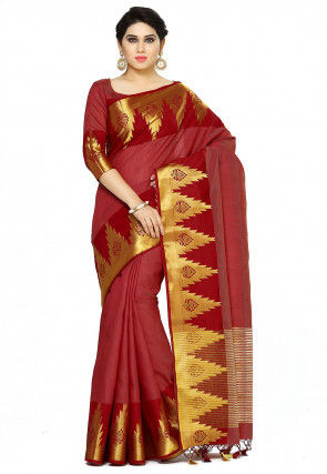 Bangalore Silk Saree in Maroon