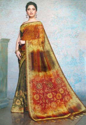Batik Linen Silk Saree in Olive Green and Rust