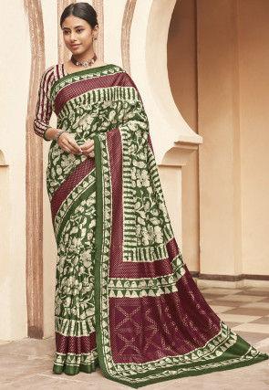 Batik Printed Art Silk Saree in Green
