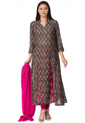 Batik Printed Chanderi Cotton A Line Suit in Brown