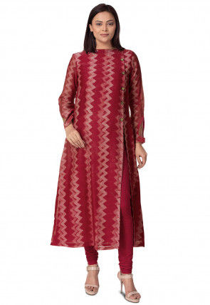 Batik Printed Chanderi Cotton Kurta in Shaded Pink