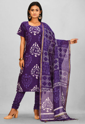 Batik Printed Chanderi Cotton Straight Suit in Purple
