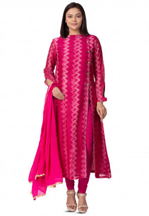 Batik Printed Chanderi Cotton Straight Suit in Dusty Pink