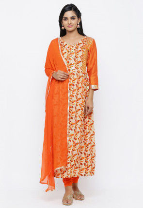 Batik Printed Cotton A Line Suit in Beige and Orange