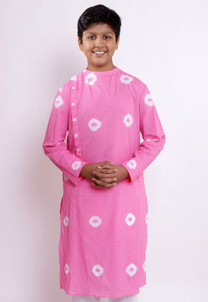 Batik Printed Cotton Kurta in Pink