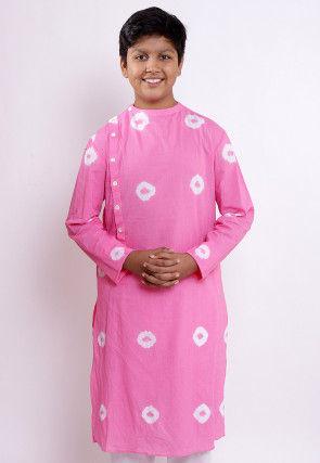 Batik Printed Cotton Kurta in Pink
