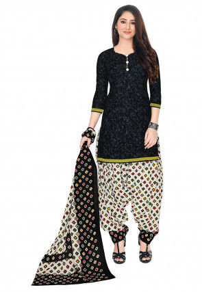 Batik Printed Cotton Punjabi Suit in Black