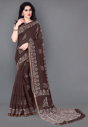 Batik Printed Cotton Saree in Dark Brown