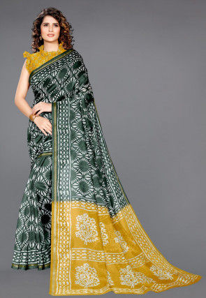 Batik Printed Cotton Saree in Dark Green