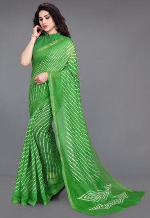Batik Printed Cotton Saree in Green