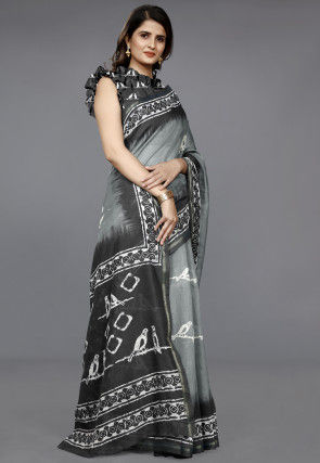 Batik Printed Cotton Saree in Light Grey