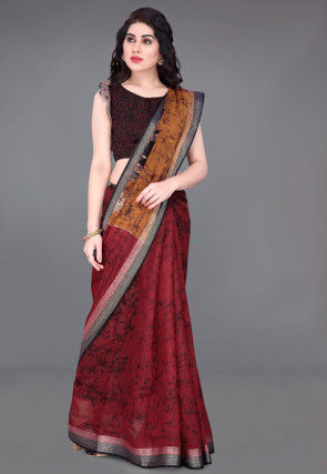 Batik Printed Cotton Saree in Maroon and Mustard