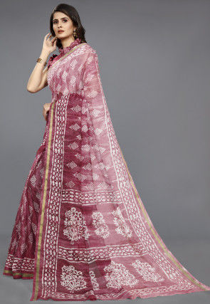 Batik Printed Cotton Saree in Maroon Ombre