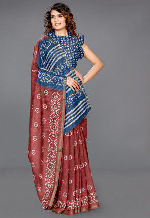 Batik Printed Cotton Saree in Maroon