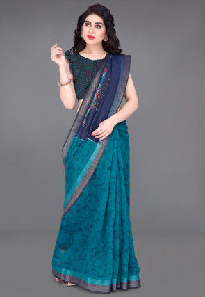 Batik Printed Cotton Saree in Navy Blue and Teal Blue