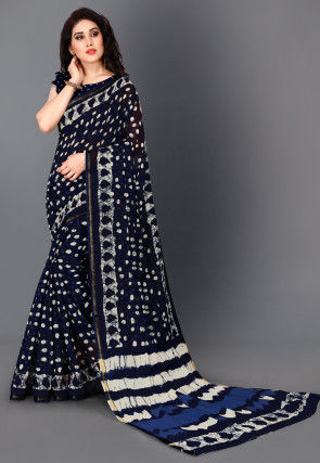 Batik Printed Cotton Saree in Navy Blue