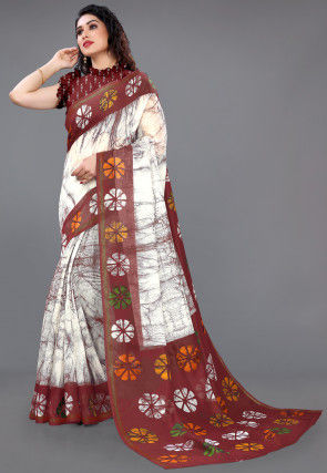 Batik Printed Cotton Saree in Off White and Maroon