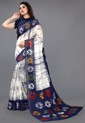 Batik Printed Cotton Saree in Off White and Navy Blue
