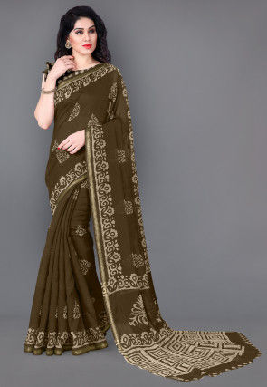 Batik Printed Cotton Saree in Olive Green