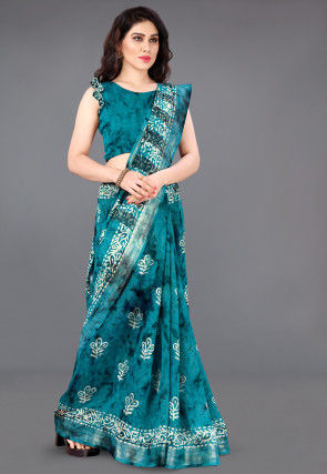 Batik Printed Cotton Saree in Teal Blue