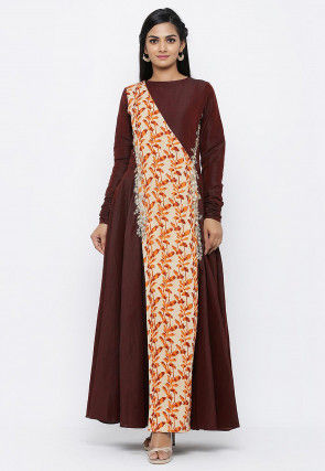 Batik Printed Cotton Silk Flared Gown in Maroon