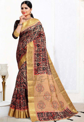Batik Printed Cotton Silk Saree in Black and Red
