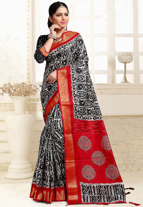 Batik Printed Cotton Silk Saree in Black and White
