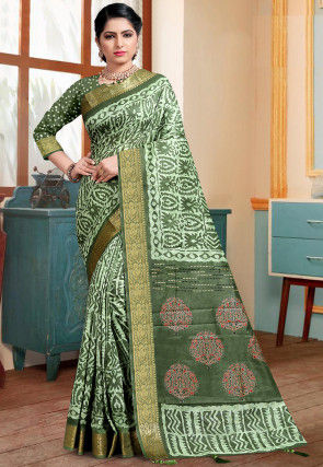 Batik Printed Cotton Silk Saree in Green