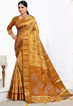 Batik Printed Cotton Silk Saree in Mustard