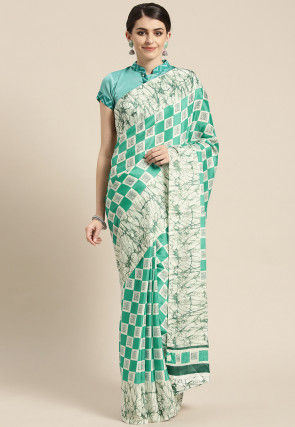 Batik Printed Crepe Saree in Teal Green and White