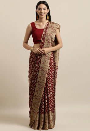 Batik Printed Georgette Saree in Maroon and Beige