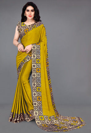 Batik Printed Georgette Saree in Mustard