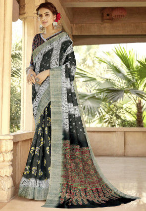 Batik Printed Linen Saree in Black