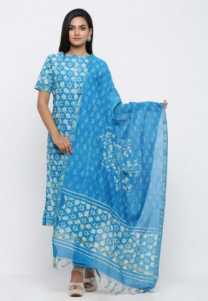 Batik Printed Pure Chanderi Cotton Dupatta in Blue