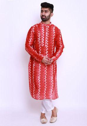 Batik Printed Pure Chanderi Cotton Kurta in Red
