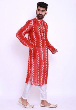 Batik Printed Pure Chanderi Cotton Kurta Set in Red