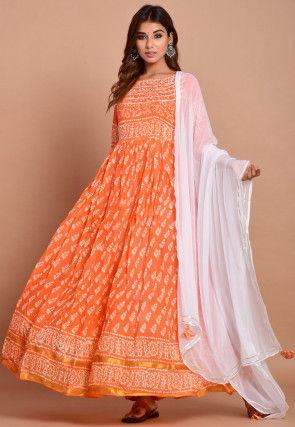 Batik Printed Rayon Abaya Style Suit in Orange