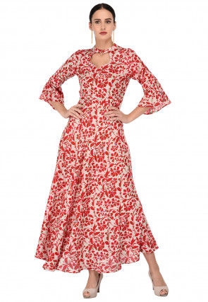 Batik Printed Rayon Cotton Maxi Dress in Red and Light Beige