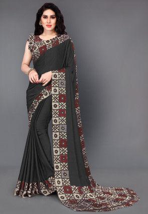 Batik Printed Satin Chiffon Saree in Black
