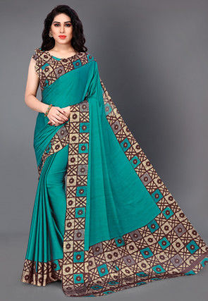 Batik Printed Satin Chiffon Saree in Teal Blue