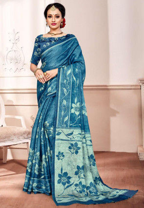 Batik Printed Satin Saree in Blue