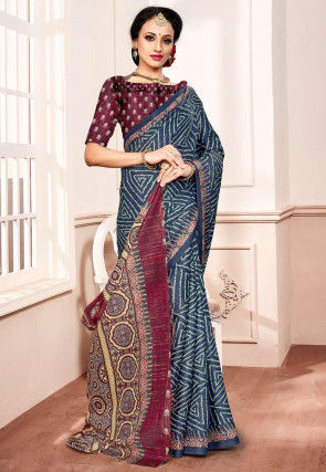 Batik Printed Satin Saree in Dark Grey