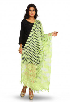 Handloom Art Silk Dupatta in Neon Green
