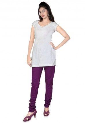 Plain Cotton Churidar in Purple